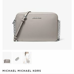 Grey over the shoulder Mk purse